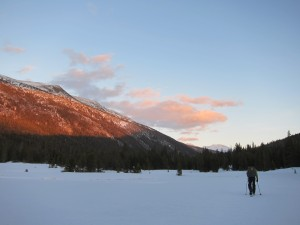 Skiing up Lyell Canyon with the setting sun