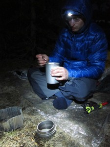 Dinner on some dry ground during the ski trip.
